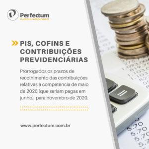 PIS, COFINS E CONTRIBUIÇÃO PREVIDENCIÁRIA PATRONAL – Prorrogados os prazos de recolhimento das contribuições relativas à competência de maio de 2020