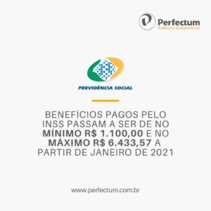 BENEFÍCIOS PAGOS PELO INSS PASSAM A SER DE NO MÍNIMO R$ 1.100,00 E NO MÁXIMO R$ 6.433,57 A PARTIR DE JANEIRO DE 2021